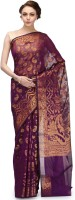 Bunkar Self Design Banarasi Cotton Saree(Purple, Gold)