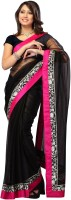 Dancing Girl Solid Bollywood Net Saree(Black)