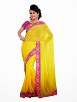 Dancing Girl Embroidered Bollywood Georgette Saree(Yellow)