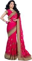 M.S.Retail Embroidered Fashion Handloom Satin Saree(Pink)
