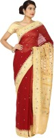 Zain Textiles Woven Banarasi Handloom Pure Chiffon Saree(Maroon, Beige)