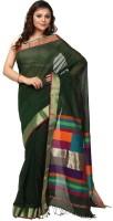 Kataan Bazaar Woven Maheshwari Handloom Cotton Saree(Green)