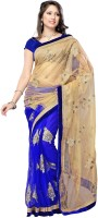 Indian Wear Online Printed Fashion Net Saree(Multicolor)