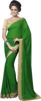 Suvastram Printed Fashion Poly Georgette Saree(Green)