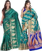 Indi Wardrobe Woven Banarasi Handloom Banarasi Silk Saree(Pack of 2, Light Green, Green)