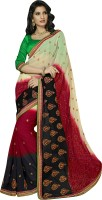 Khoobee Self Design, Embroidered, Embellished Fashion Poly Georgette Saree(Red, White, Black)