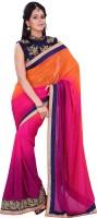Florence Embroidered Fashion Chiffon Saree(Pink)
