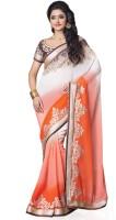 Saara Self Design Fashion Georgette Saree(White, Orange)