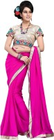 Cenizas Solid Fashion Chiffon Saree(Pink)