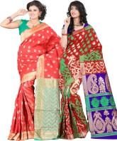 Indi Wardrobe Woven Banarasi Handloom Banarasi Silk Saree(Pack of 2, Red, Red)