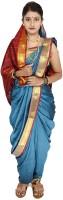 Womens Cottage Solid Assam Silk Art Silk Saree(Blue)