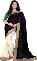 Sourbh Sarees Self Design, Solid, Embroidered Fashion Jacquard, Chiffon Saree(Black, Beige)