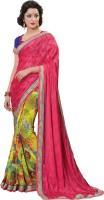 Khoobee Self Design Fashion Poly Georgette Saree(Pink)