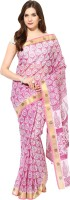 Fostelo Self Design Daily Wear Cotton Saree(Pink)