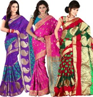 Its Banii Woven Banarasi Handloom Banarasi Silk Saree(Pack of 3, Purple, Pink, Green)