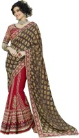 Khoobee Self Design, Embroidered, Embellished Fashion Georgette, Jacquard Saree(Brown, Red)