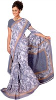 Khoobee Self Design, Printed Fashion Poly Georgette Saree(Grey)