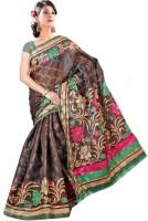 Khoobee Printed Bhagalpuri Cotton Blend Saree(Brown)