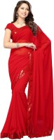 Dancing Girl Solid Bollywood Georgette Saree(Red)