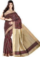 Vastrakala Striped Banarasi Cotton, Silk Saree(Multicolor)