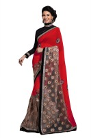 Chirag Sarees Embroidered Fashion Georgette Saree(Red)