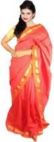 Javuli Woven Madurai Handloom Silk Cotton Blend Saree(Red)
