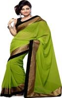 Ansu Fashion Plain Bollywood Georgette Saree(Green)