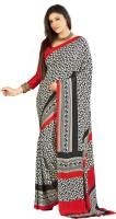 Khoobee Printed Fashion Poly Crepe Saree(Red, Black)