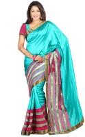 Weavedeal Embellished Banarasi Art Silk Saree(Light Blue)