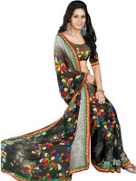 Khoobee Printed Fashion Poly Georgette Saree(Multicolor, Black)