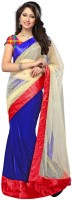Nairiti Fashions Solid Bollywood Net, Velvet Saree(Blue, Beige)