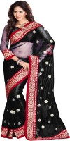 Sourbh Sarees Embroidered Fashion Net Saree(Black)