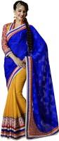 Bahubali Sarees Self Design Fashion Crepe Saree(Blue, Yellow)