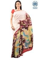Tantuja Self Design Murshidabad Handloom Silk Saree(White)