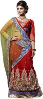 Bahubali Sarees Self Design Lehenga Saree Net Saree(Light Green, Red)
