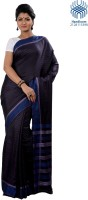 Tantuja Solid Tangail Handloom Silk Saree(Black)