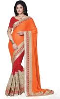 Saara Self Design, Solid Fashion Chiffon Saree(Red, Orange)