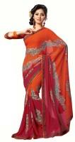 Khoobee Printed Fashion Poly Georgette Saree(Pink, Orange)