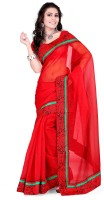 Indi Wardrobe Printed Banarasi Handloom Banarasi Silk Saree(Red)