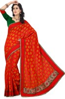 Saree Swarg Solid Bollywood Silk, Jacquard Saree(Red)