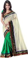 Weavedeal Embellished, Self Design Banarasi Banarasi Silk Saree(White)