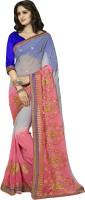 Jiya Self Design, Embroidered Fashion Chiffon Saree(Pink, Grey)