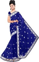 Dancing Girl Embroidered Bollywood Net Saree(Blue)