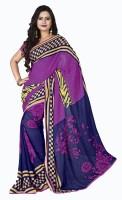Khoobee Floral Print Fashion Poly Georgette Saree(Multicolor, Purple, Pink)