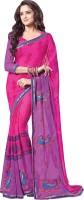 Khoobee Self Design, Embroidered, Embellished Fashion Chiffon Saree(Purple, Pink)