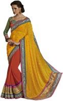 Desi Butik Self Design Fashion Brasso Saree(Yellow)