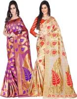 Weavedeal Embellished Kanjivaram Silk Cotton Blend Saree(Pack of 2, Pink, Beige)