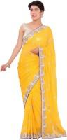 Shri Narayan Fashions Embellished Fashion Handloom Synthetic Georgette Saree(Yellow)