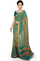 Devi Handlooms Woven Mangalagiri Handloom Cotton Blend Saree(Green)