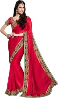 Khoobee Self Design Fashion Jacquard Saree(Red)